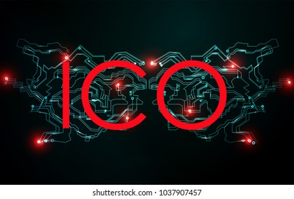 ICO initial coin offering concept. Block chain network. Cryptocurrency ICO bitcoin trading.  Global cyber futuristic financial network