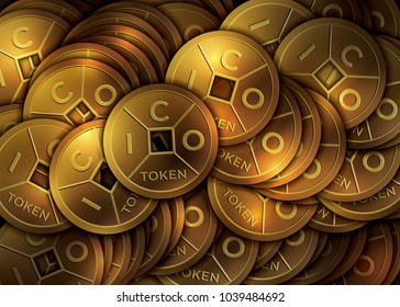 ICO - Initial Coin Offering. Golden ICO tokens.  Lucky feng shui coin. Raster version.