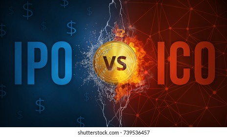 ICO initial coin offering vs IPO Initial Public Offering illustration with elements of fire flame, water splashes and lightning on background with blockchain peer to peer network and dollar symbols.