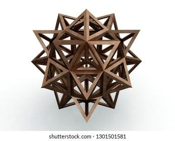 Icofiexaedron, , Leonardo da Vinci, illustration for the Divina Proportione book page 265. 3D model