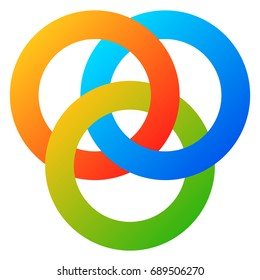 Icon with 3 interlocking circles. rings. Abstract symbol for connection, unity, relation, linkage or similar concepts