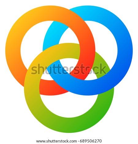 Icon 3 Interlocking Circles Rings Abstract Stock Illustration
