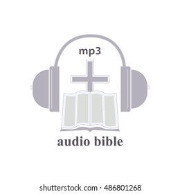 Icon of audio the Bible. A religious trade mark. The cross, the bible, headphones symbolize listening the bible, through headphones.
