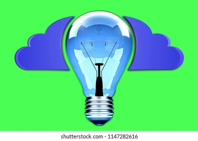 Icon blue light bulb and clouds