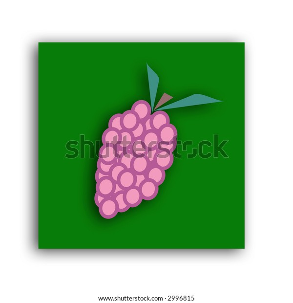 An icon of a bunch of purple grapes with a drop shadow
