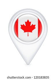 Icon with canadian flag.Isolated on white background.3d rendered.
