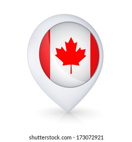 Icon with Canadian flag.Isolated on white.3d rendered.