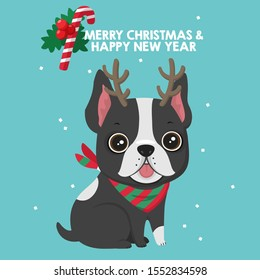 Icon Christmas french bulldog. Image dog french bulldog with Christmas deer horns. Illustration New year puppy in flat style