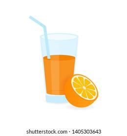 Icon of drink with fruit. Orange juice on white background. stock illustration.