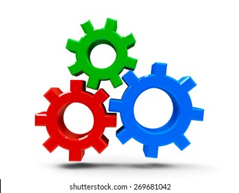 Icon gears - concept of CMS - content management system, three-dimensional rendering