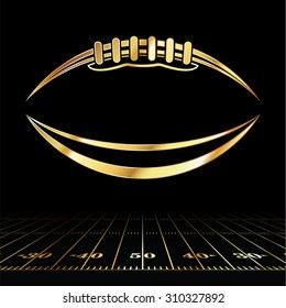 An icon of a gold colored American football over a football field illustration. Room for copy.
