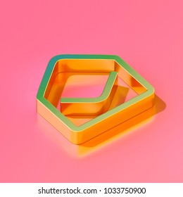 Icon of gold envelope open contour on the candy pink background. 3D illustration of Contact, content, e-mail, email, envelope, inbox, letter isometric icon set.