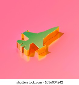 Icon of gold fighter jet on the candy pink background. 3D illustration of Air, fighter, flight, jet, military, oregon, technology isometric icon.