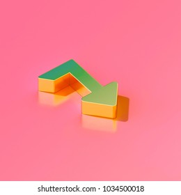 Icon of gold level down on the candy pink background. 3D illustration of Arrow, down, download, level down, levels, priority, put isometric icon.