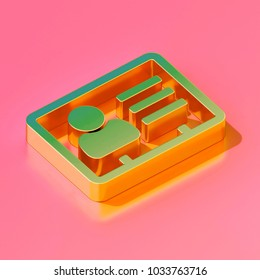 Icon of gold vcard on the candy pink background. 3D illustration of V card, v card icon, vcard, vcard file, vcard file isometric icon set.