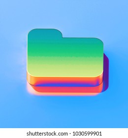 Icon of green folder with golden reflection on the glossy blue background. 3D illustration of colorfull File, directory, documents isometric icon.