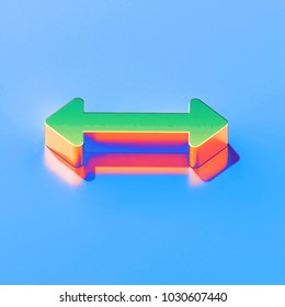 Icon of green horizontal arrows with golden reflection on the glossy blue background. 3D illustration of colorfull Arrows, bi directional, horizontal, pass isometric icon.