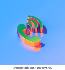 Icon of green volume control phone on the glossy blue background. 3D illustration of phone, telephone, volume, ring, sound, Receiver isometric icon set.