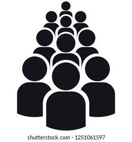 Icon of group of ten people silhouettes. Simple  illustration. Isolated on a white background.