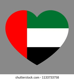Icon heart symbol of love on the background national flag state United Arab Emirates. Raster copy.