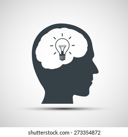 icon of human head with a light bulb