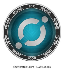 ICON (ICX) coin isolated on white background; icon cryptocurrency
