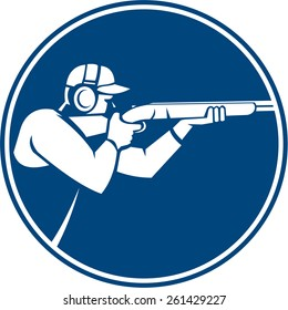 Icon illustration of a man with shotgun shooting aiming in trap shooting sport viewed from side set inside circle on isolated background done in retro style.