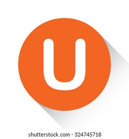 An Icon Isolated on a Orange Circle with Shadow - U