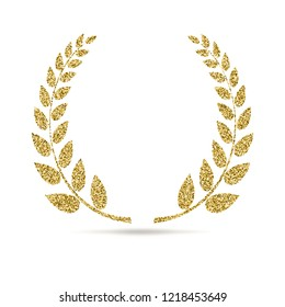 Icon of Laurel wreath. Sign with glitter effect, isolated on white background. Symbol, pictogram of laurel wreath from golden particles of dust.