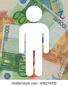 Icon of male over Euro banknotes. Microeconomics and personal finance situations - income, profit, loan, spending, saving, indebtedness, bankruptcy, investment, social security benefit, tax return