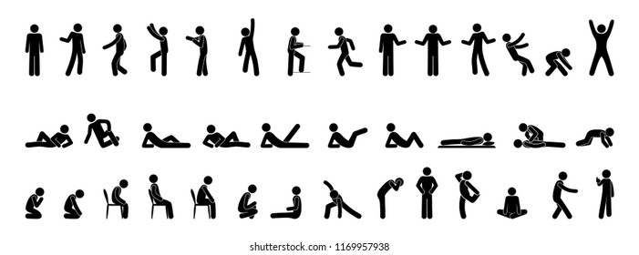 icon man, pictogram stick figure people, set of human silhouettes, various poses and gestures