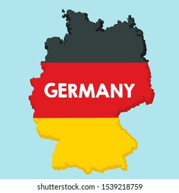 icon map of Germany territory textured under the flag. Background outline map of Germany with the outlines of areas in the colors of the flag. Illustration map Germany flag in flat style