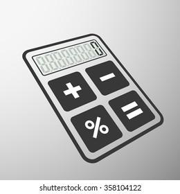 Icon mathematical calculator. Flat design. Stock illustration.