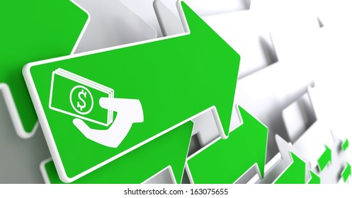 Icon of Money in the Hand on Green Arrow on a Grey Background.
