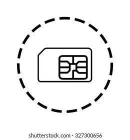 An Icon Outline within a dotted circle - SIM Card