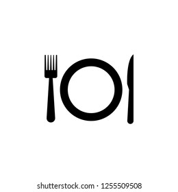 The icon of plate, fork, knife. Simple flat icon illustration of plate, fork, knife for a website or mobile application