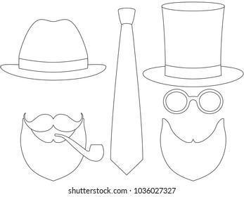2f84ceec Icon poster father day avatar set hat glasses mustache smoking pipe beard  tie. Hipster illustration