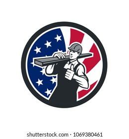 Icon retro style illustration of an American lumberyard worker carrying timber on shoulder with thumbs up with United States of America USA star spangled banner or stars and stripes flag in circle.