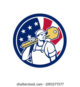 Icon retro style illustration of an American locksmith or key cutter carrying a giant key with United States of America USA star spangled banner, stars and stripes flag in circle isolated background.