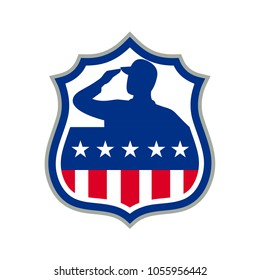 Icon retro style illustration of silhouette of an American soldier saluting USA stars and stripes, star spangled banner flag front view set inside crest shield on isolated background.