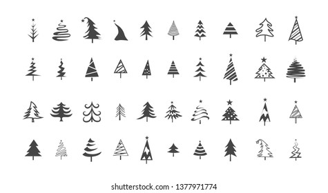 Icon set of cute christmas trees. Black tree shaped silhouette. Xmas celebration. Isolated  illustration