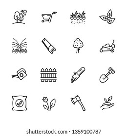Icon set gardening, agriculture and horticulture. Contains such symbols gardening tools for growing plant in garden. Watering can, lawn, saw, ax, shovel and other
