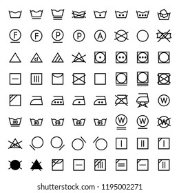 Icon set of laundry in line style.