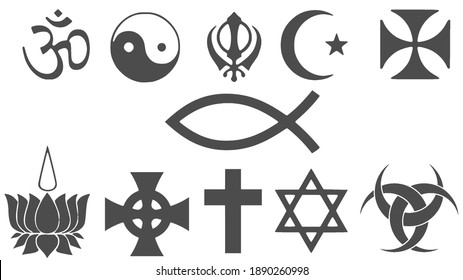 Icon set of religious symbols. Christianity, Islam, Buddhism, other main world religions and Atheism sign, simple and modern minimal style.
