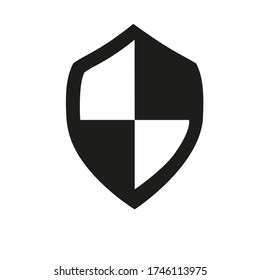 Icon of shield board piece. Armour held, passive protection, defense. Security concept. Can be used for topics like safety, specific attack, antivirus