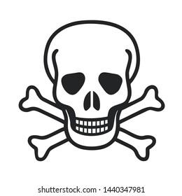 Icon sign skull. Illustration of a toxic skull symbol sign in flat minimalism style.