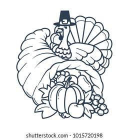 Icon, silhouette on the Thanksgiving day. Icon in the linear style in the form of a cornucopia and a turkey