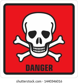 Icon square sign  dangerously toxic skull. Red  sign with a skull toxic and text: Danger. Illustration of a toxic skull symbol sign in flat minimalism style.