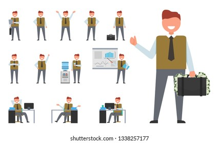 Icon of successful businessman doing different actions such as giving presentation, working in office and standing with suitcase raster illustrations