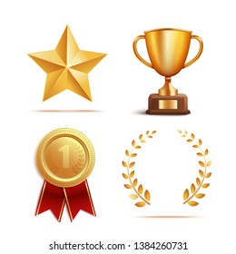 Icon and symbol award, prize and trophy set. Sign of victory, succes and winner. Set of gold award and reward, realistic 3d  illustration.